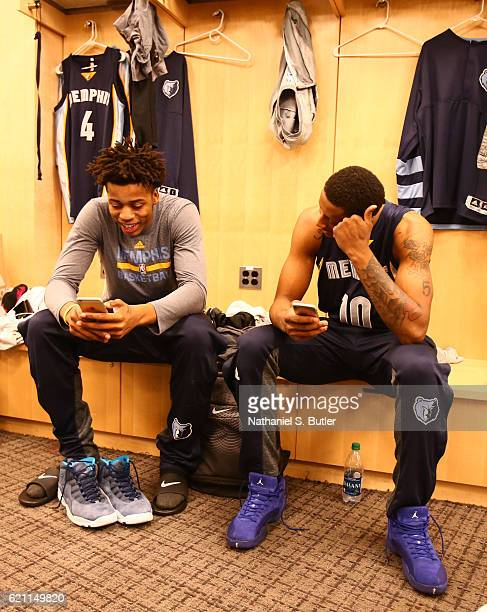 Deyonta Davis and Troy Williams of the Memphis Grizzlies get ready before the game against the New York Knicks on October 29 2016 at Madison Square...