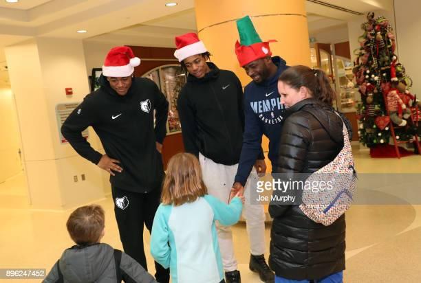 Deyonta Davis JaMychal Green and James Ennis III of the Memphis Grizzlies visit with children on December 18 2017 at LeBonheur Children's Hospital in...