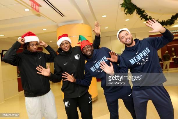 Deyonta Davis JaMychal Green James Ennis III and Chandler Parsons of the Memphis Grizzlies visit with children on December 18 2017 at LeBonheur...