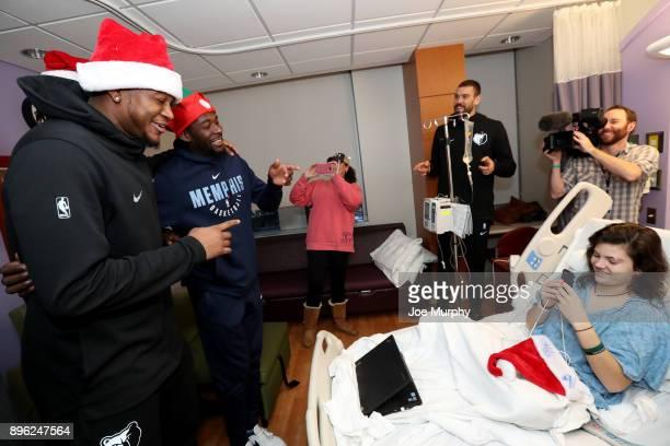 Deyonta Davis Marc Gasol JaMychal Green and James Ennis III of the Memphis Grizzlies visit with children on December 18 2017 at LeBonheur Children's...