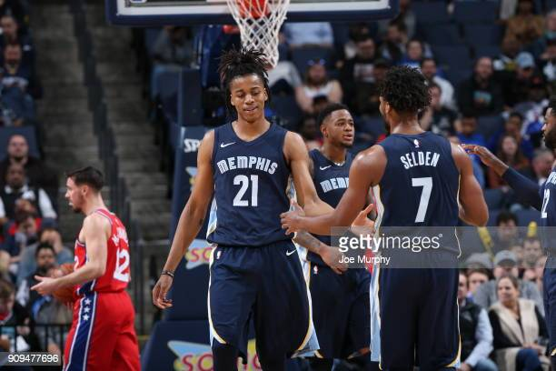 Deyonta Davis of the Memphis Grizzlies and Wayne Selden of the Memphis Grizzlies high five during game against the Philadelphia 76ers on January 22...