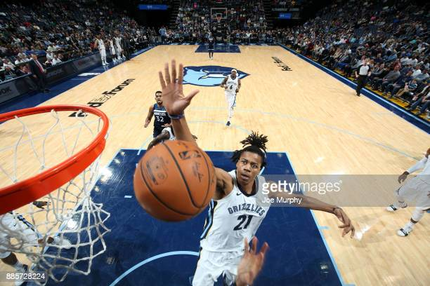 Deyonta Davis of the Memphis Grizzlies blocks a shot during the game against the Minnesota Timberwolves on December 4 2017 at FedEx Forum in Memphis...
