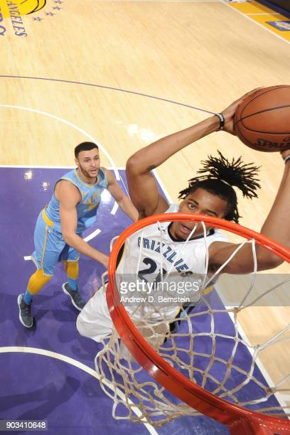 Deyonta Davis of the Memphis Grizzlies drives to the basket against the Los Angeles Lakers on December 27 2017 at STAPLES Center in Los Angeles...
