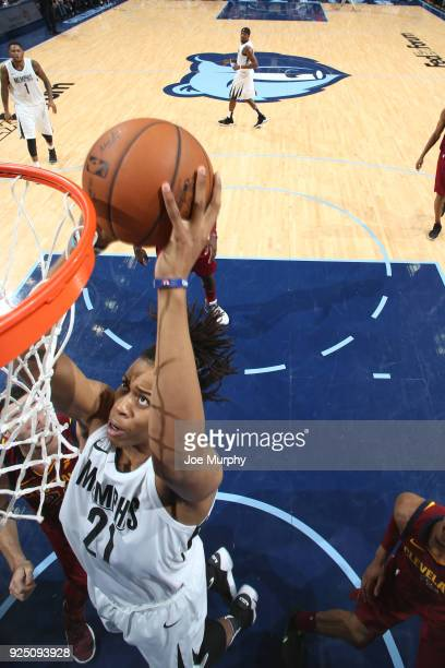Deyonta Davis of the Memphis Grizzlies goes to the basket against the Cleveland Cavaliers on February 23 2018 at FedExForum in Memphis Tennessee NOTE...