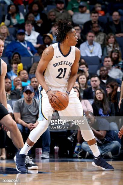 Deyonta Davis of the Memphis Grizzlies handles the ball against the San Antonio Spurs on January 24 2018 at FedExForum in Memphis Tennessee NOTE TO...