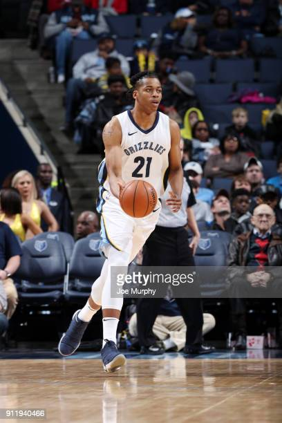Deyonta Davis of the Memphis Grizzlies handles the ball against the Phoenix Suns on January 29 2018 at FedExForum in Memphis Tennessee NOTE TO USER...
