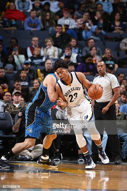 Deyonta Davis of the Memphis Grizzlies handles the ball during a game against the Orlando Magic on December 1 2016 at FedExForum in Memphis Tennessee...