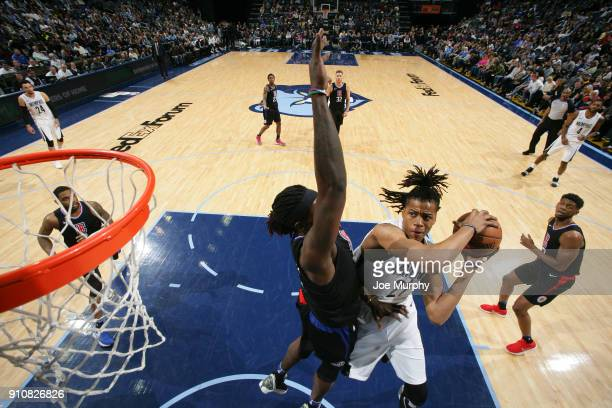 Deyonta Davis of the Memphis Grizzlies handles the ball during the game against the LA Clippers on January 26 2018 at FedExForum in Memphis Tennessee...