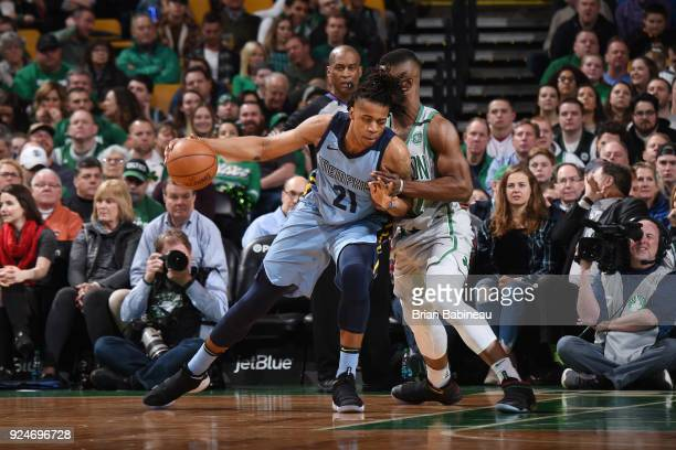 Deyonta Davis of the Memphis Grizzlies handles the ball during the game against the Boston Celtics on February 26 2018 at the TD Garden in Boston...