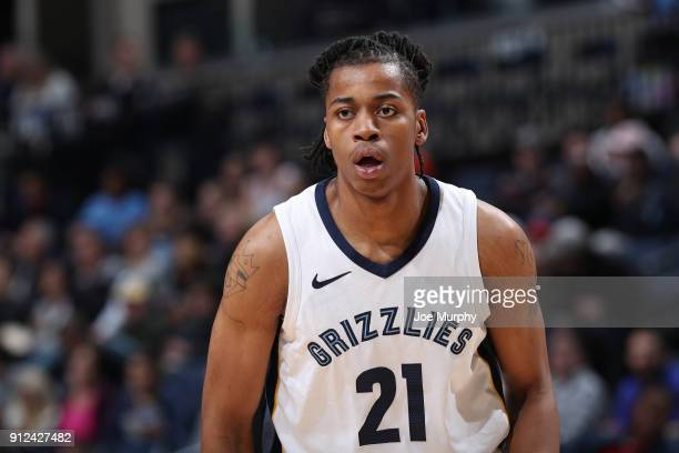 Deyonta Davis of the Memphis Grizzlies looks on during the game against the Phoenix Suns on January 29 2018 at FedExForum in Memphis Tennessee NOTE...