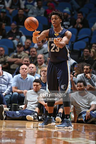 Deyonta Davis of the Memphis Grizzlies makes a pass against the Minnesota Timberwolves on October 19 2016 at Target Center in Minneapolis Minnesota...