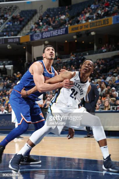 Deyonta Davis of the Memphis Grizzlies plays defense against Enes Kanter of the New York Knicks on January 17 2018 at FedExForum in Memphis Tennessee...