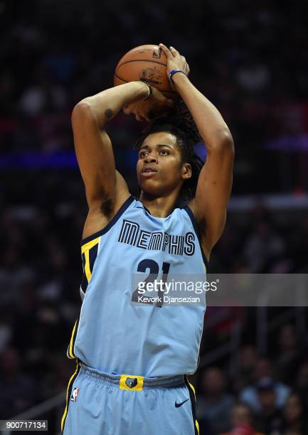 Deyonta Davis of the Memphis Grizzlies shoots a jumper against Los Angeles Clippers during the first half at Staples Center on January 2 2018 in Los...