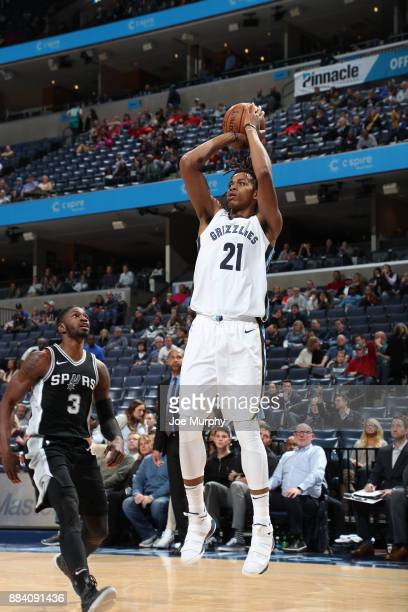 Deyonta Davis of the Memphis Grizzlies shoots the ball against Brandon Paul of the San Antonio Spurs on December 1 2017 at FedExForum in Memphis...