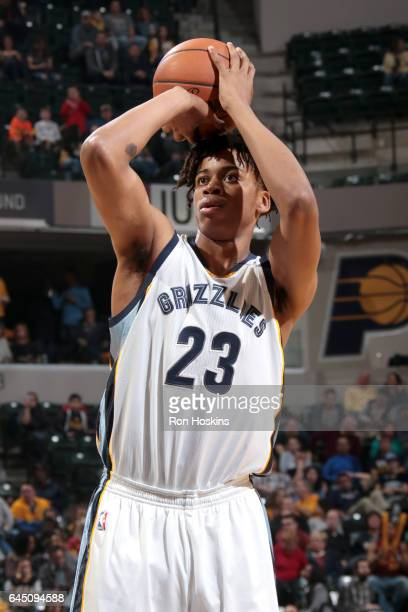 Deyonta Davis of the Memphis Grizzlies shoots the ball against the Indiana Pacers on February 24 2017 at Bankers Life Fieldhouse in Indianapolis...
