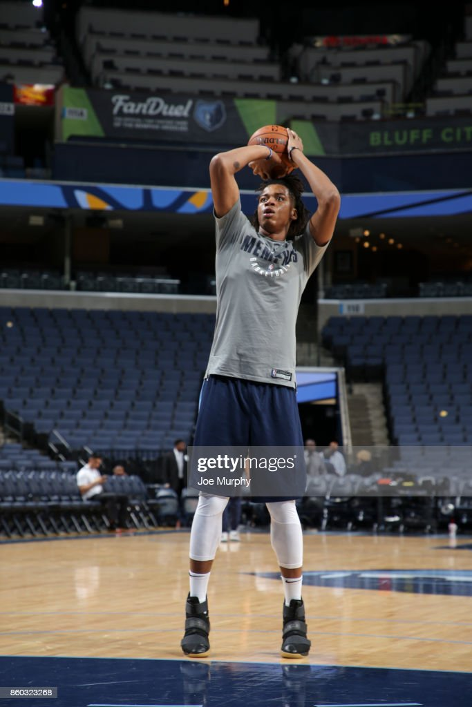 Deyonta Davis #21 of the Memphis Grizzlies shoots the ball before a preseason game against the Houston Rockets on October 11, 2017 at FedExForum in Memphis, Tennessee.