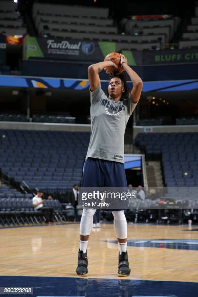 Deyonta Davis of the Memphis Grizzlies shoots the ball before a preseason game against the Houston Rockets on October 11 2017 at FedExForum in...