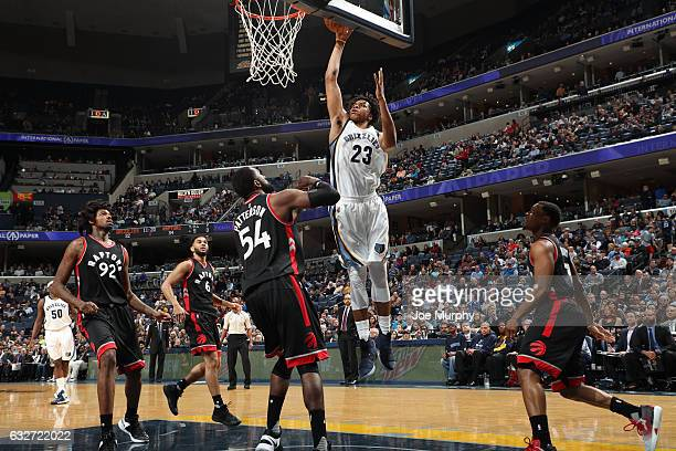 Deyonta Davis of the Memphis Grizzlies shoots the ball during the game against the Toronto Raptors on January 25 2017 at FedExForum in Memphis...