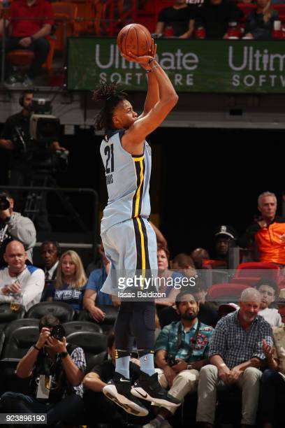 Deyonta Davis of the Memphis Grizzlies shoots the ball during the game against the Miami Heat on February 24 2018 at American Airlines Arena in Miami...