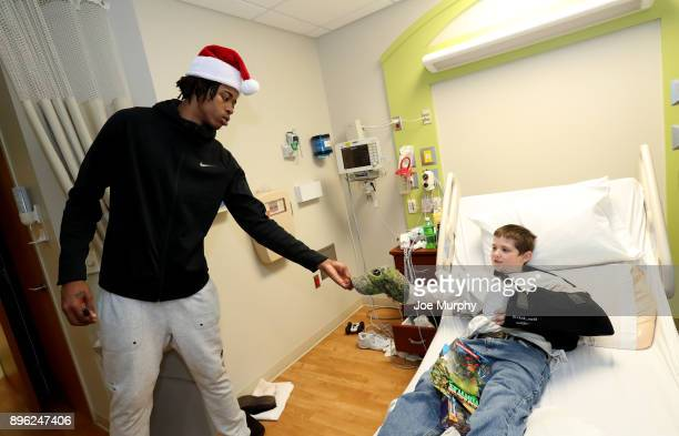 Deyonta Davis of the Memphis Grizzlies visits with children on December 18 2017 at LeBonheur Children's Hospital in Memphis Tennessee NOTE TO USER...
