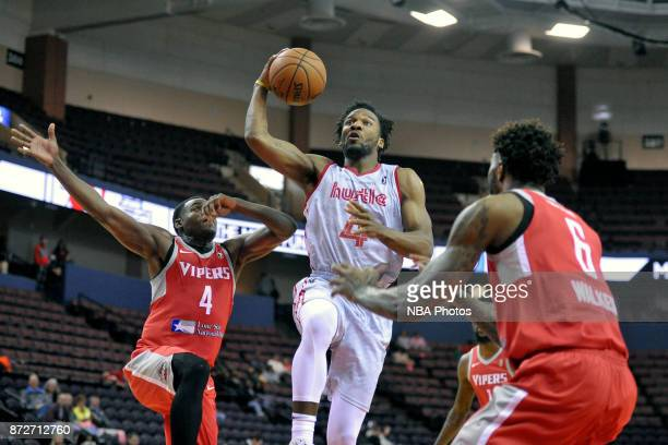 Deyonta Davis of the Memphis Hustle goes to the basket against the Rio Grande Valley Vipers during an NBA GLeague game on November 10 2017 at Landers...
