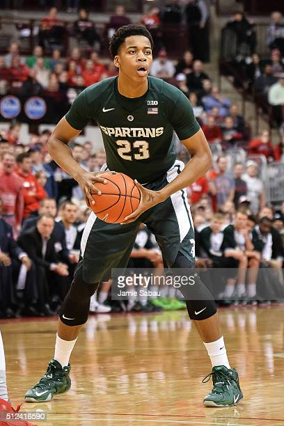 Deyonta Davis of the Michigan State Spartans controls the ball against the Ohio State Buckeyes on February 23 2016 at Value City Arena in Columbus...
