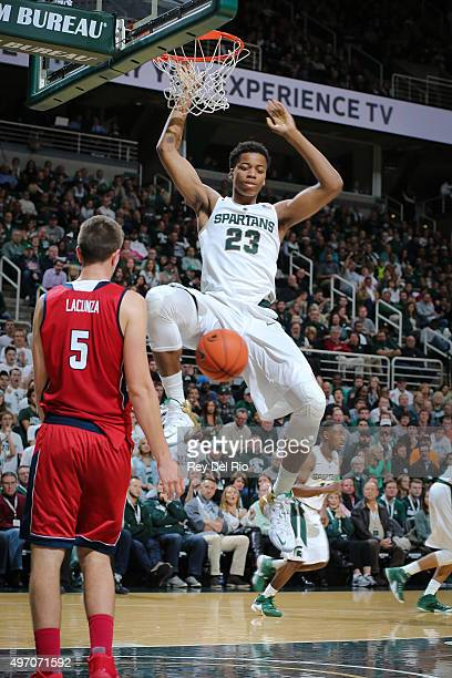 Deyonta Davis of the Michigan State Spartans dunks against Florida Atlantic Owls at the Breslin Center on November 13 2015 in East Lansing Michigan