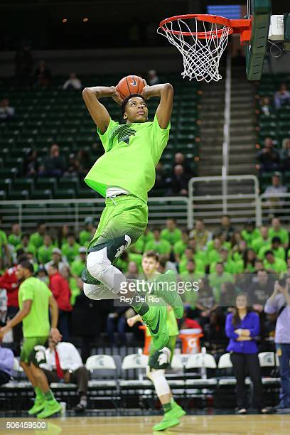 Deyonta Davis of the Michigan State Spartans dunks during warmups prior to the game against the Maryland Terrapins at the Breslin Center on January...