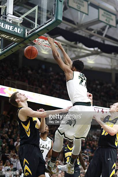 Deyonta Davis of the Michigan State Spartans dunks in the second half against the Iowa Hawkeyes at the Breslin Center on January 14 2016 in East...