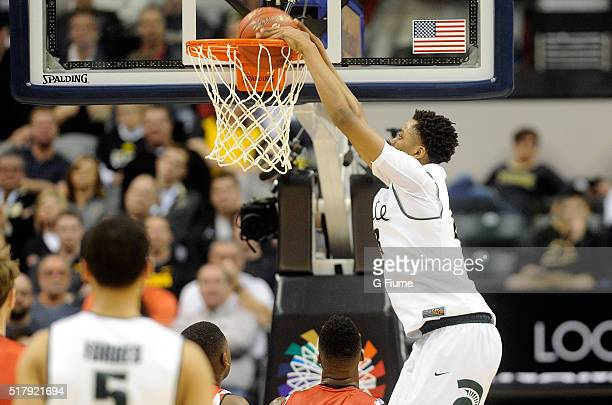 Deyonta Davis of the Michigan State Spartans dunks the ball against the Maryland Terrapins in the semifinals of the Big Ten Basketball Tournament at...