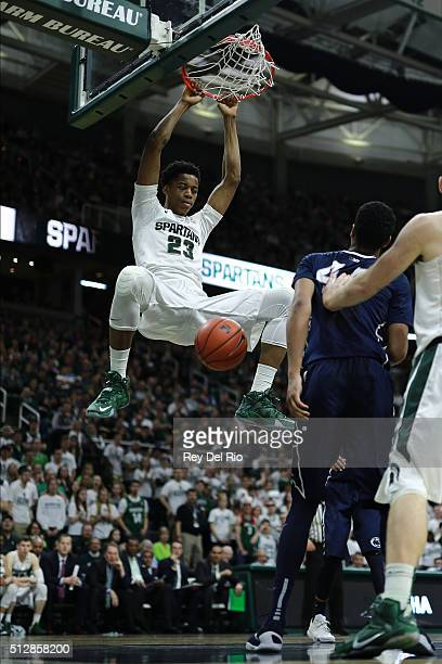 Deyonta Davis of the Michigan State Spartans dunks the ball during in the second half against the Penn State Nittany Lions at the Breslin Center on...
