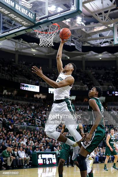 Deyonta Davis of the Michigan State Spartans shoots a layup against the Eastern Michigan Eagles in the second half at the Breslin Center on November...