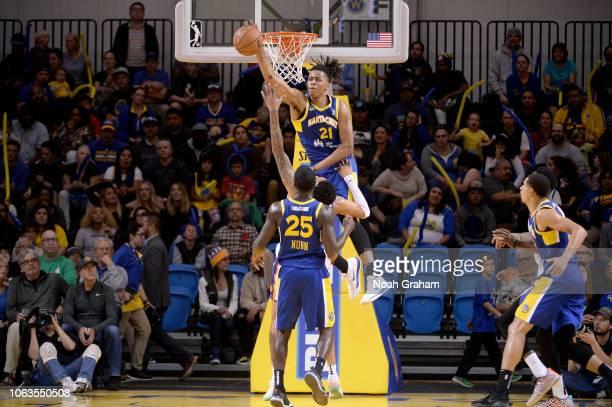 Deyonta Davis of the Santa Cruz Warriors blocks a shot against the Northern Arizona Suns on November 18 2018 at the Kaiser Permanente Arena in Santa...