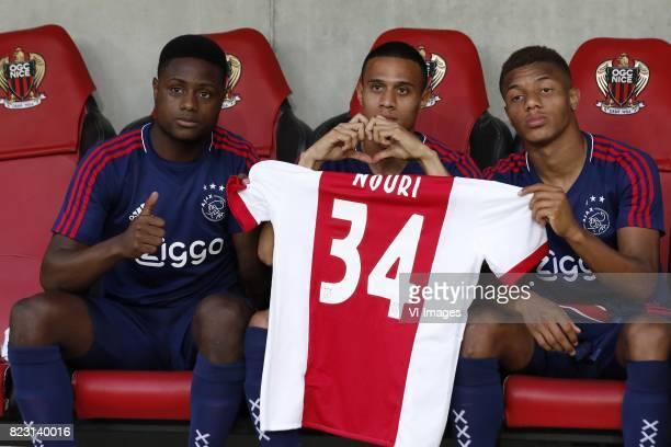 Deyovaisio Zeefuik of Ajax Damil Dankerlui of Ajax David Neres of Ajax with shirt Abdelhak Nouri of Ajax during the UEFA Champions League third round...
