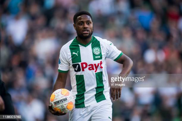 Deyovaisio Zeefuik of FC Groningen during the Dutch Eredivisie match between FC Groningen and Ajax Amsterdam at Hitachi Capital Mobility stadium on...