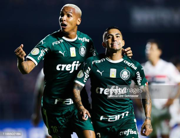 Deyverson and Dudu of Palmeiras celebrate their tying goal during the match against Sao Paulo for the Brasileirao Series A 2019 at Morumbi Stadium on...