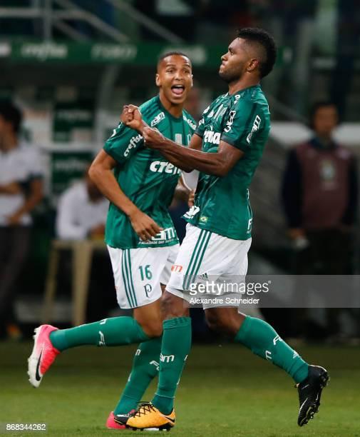 Deyverson and Miguel Borja celebrate their second goal during the match between Palmeiras and Cruzeiro for the Brasileirao Series A 2017 at Allianz...