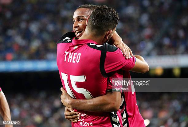 Deyverson and Theo during La Liga match between FC Barcelona v Alaves in Barcelona on September 10 2016