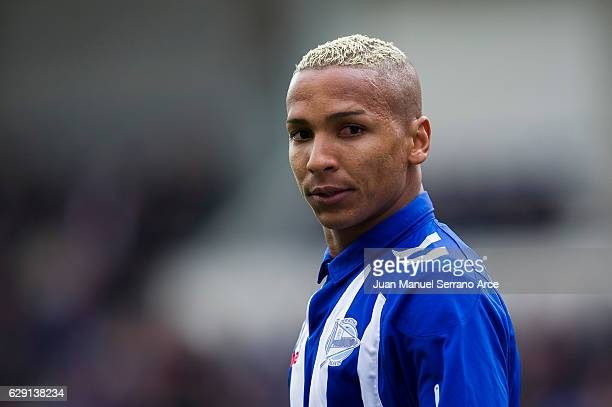 Deyverson Brum of Deportivo Alaves reacts during the La Liga match between SD Eibar and Deportivo Alaves at Ipurua Municipal Stadium on December 11...