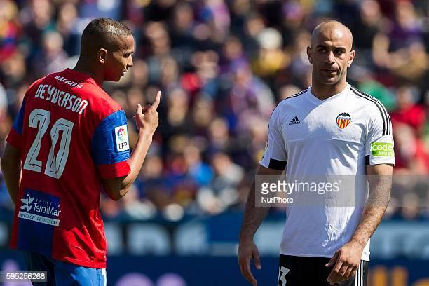 Deyverson Brum Silva Acosta of Levante UD and 23 Aymen Abdennour of Valencia CF during la liga match between Levante UD and Valencia CF at Ciutat de...