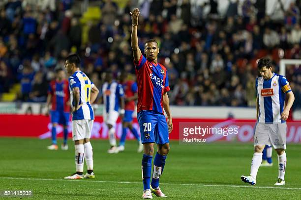 20 Deyverson Brum Silva Acosta of Levante UD during La Liga match between Levante UD v RCD Espanyol at Ciutat de Valencia Stadium in Valencia on...
