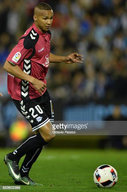 Deyverson of Alaves in action during the Copa del Rey semifinal first leg match between Real Club Celta de Vigo and Deportivo Alaves at Municipal de...