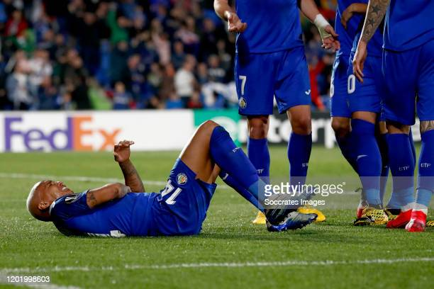 Deyverson of Getafe celebrates 10 during the UEFA Europa League match between Getafe v Ajax at the Coliseum Alfonso Perez on February 20 2020 in...