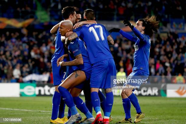 Deyverson of Getafe celebrates 10 with Mathias Olivera of Getafe Jaime Mata of Getafe Marc Cucurella of Getafe during the UEFA Europa League match...