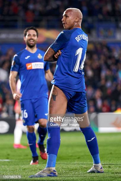 Deyverson of Getafe CF celebrates after scoring his team's first goal during the UEFA Europa League round of 32 first leg match between Getafe CF and...