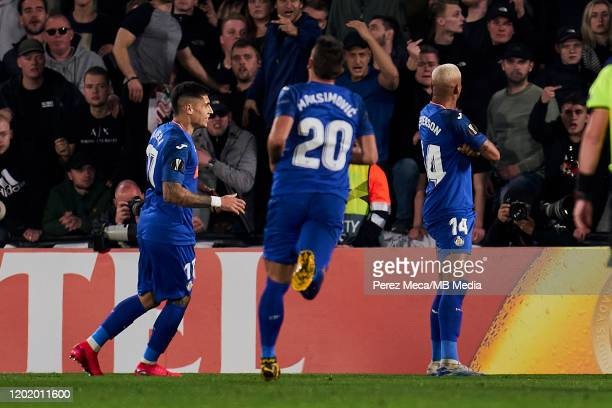 Deyverson of Getafe CF celebrates goal during the UEFA Europa League round of 32 first leg match between Getafe CF and AFC Ajax at Coliseum Alfonso...