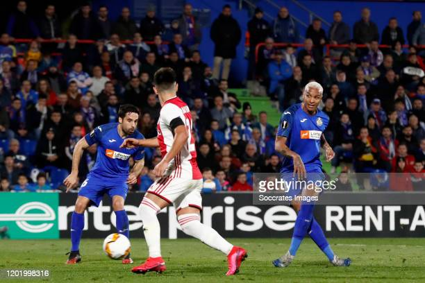 Deyverson of Getafe scores the first goal to make it 10 during the UEFA Europa League match between Getafe v Ajax at the Coliseum Alfonso Perez on...