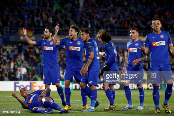 Deyverson of Getafe Xabier Etxeitia of Getafe Jaime Mata of Getafe Damian Suarez of Getafe Nemanja Maksimovic of Getafe during the UEFA Europa League...