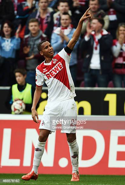 Deyverson of Koeln celebrates his team's first goal during the Bundesliga match between 1 FC Koeln and Eintracht Frankfurt at RheinEnergieStadion on...