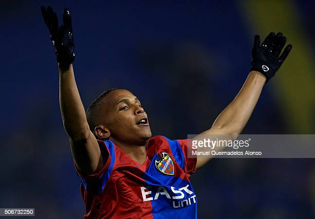 Deyverson of Levante celebrates scoring his team's second goal during the La Liga match between Levante UD and UD Las Palmas at Ciutat de Valencia...